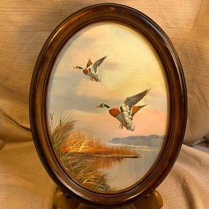 Original oil/acrylic(?) painting ducks in flight
